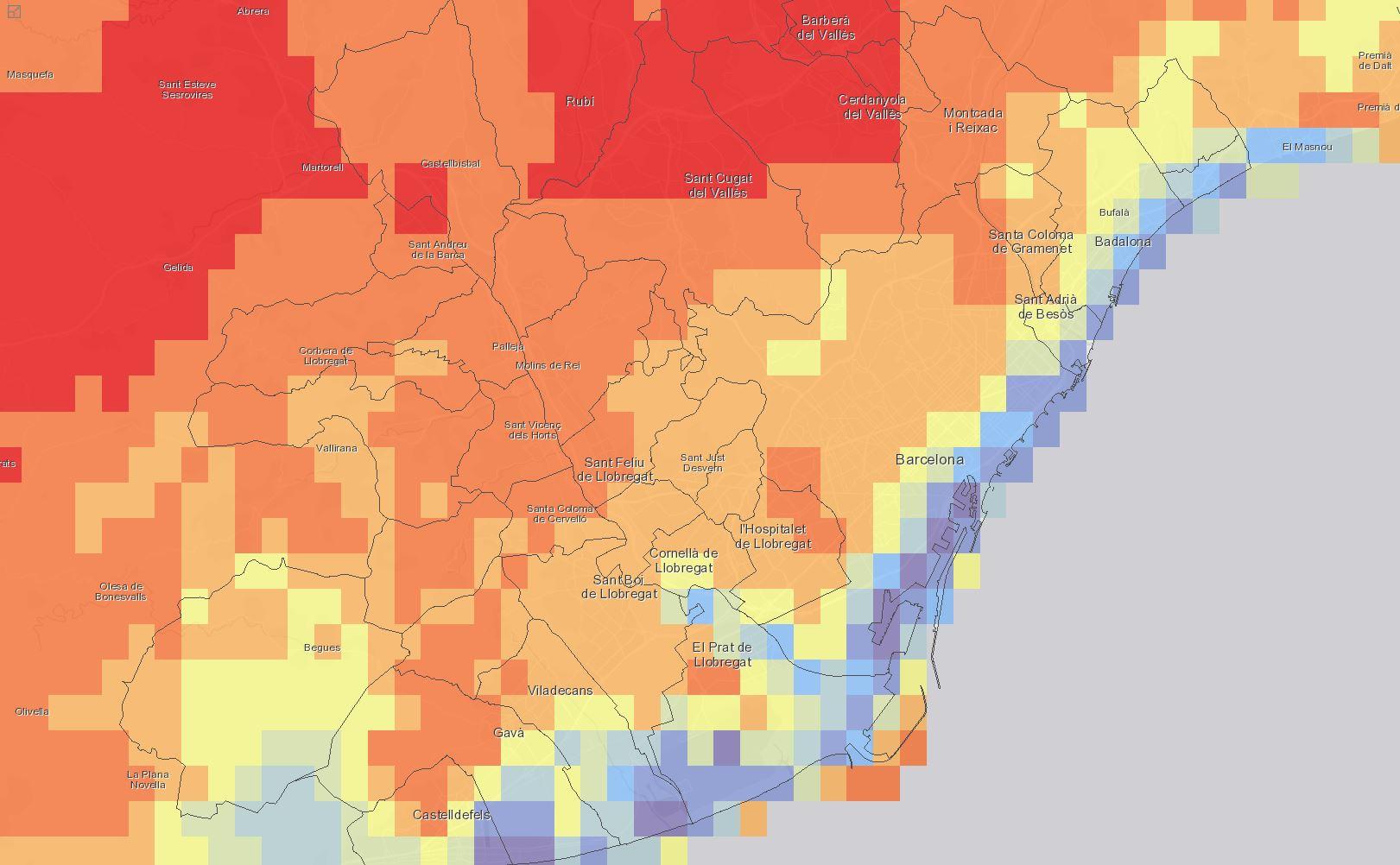Barcelona Regional - Escenaris climàtics futurs. Servidor de mapes downscaling metropolità